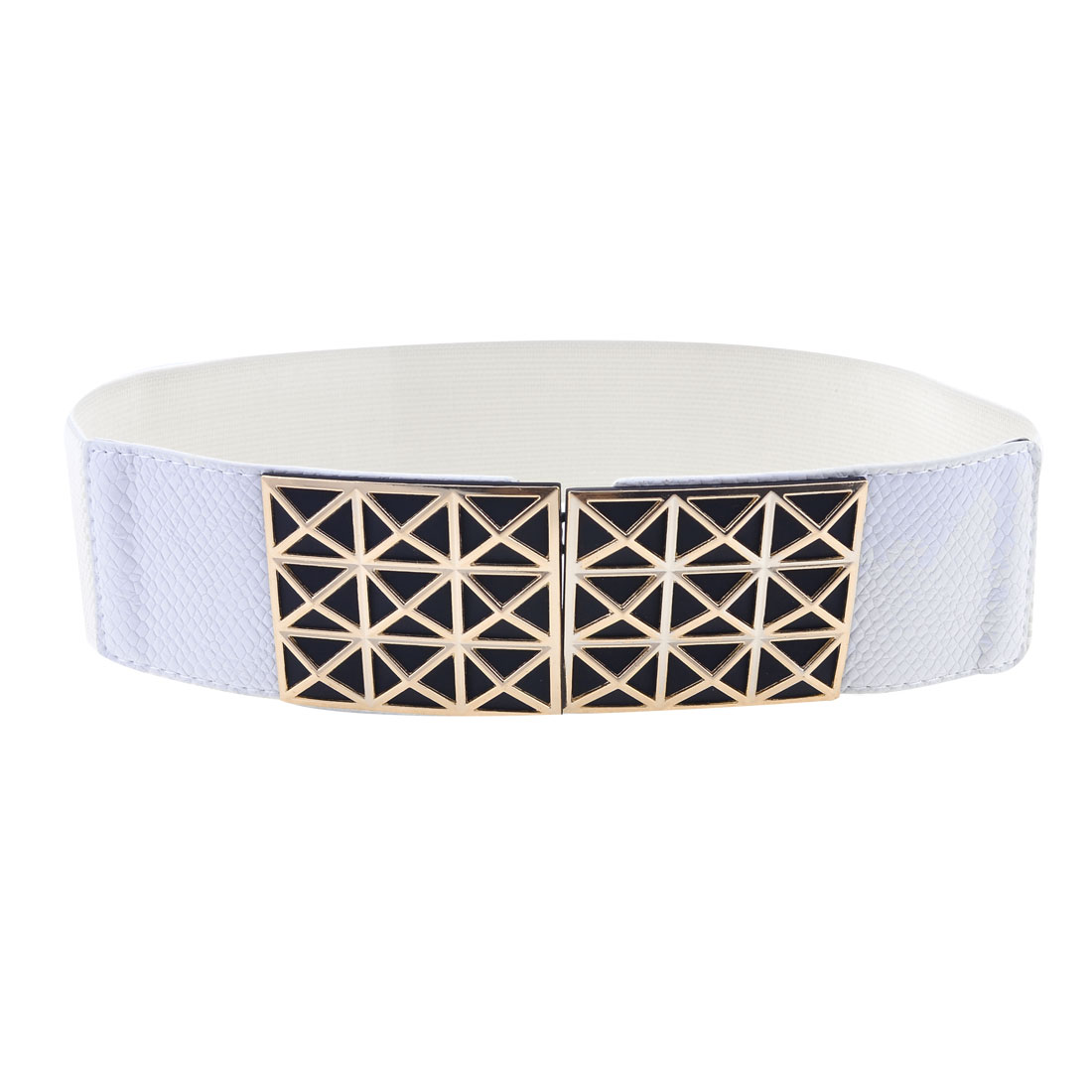 Women Faceted Square Shape Interlock Buckle 6cm Width Elastic White Waist Belt