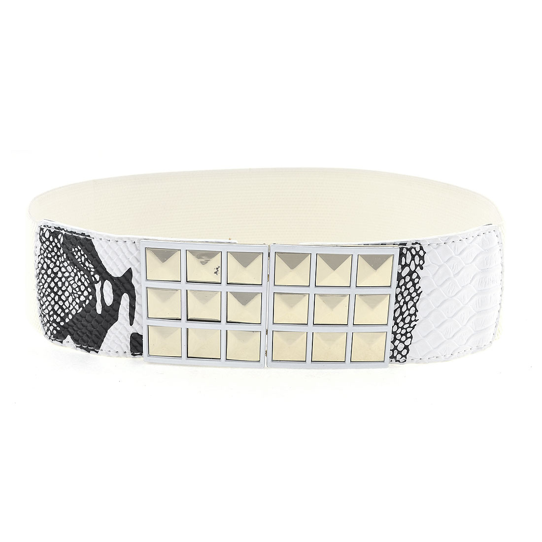 Lady Off White Faceted Square Pattern Metal Interlock Buckle Flexible Waist Belt
