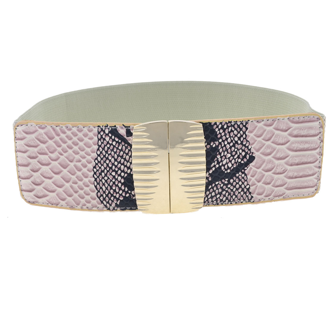Pale Pink Snake Print Metal Interlocking Buckle Elastic Waist Belt Band for Lady