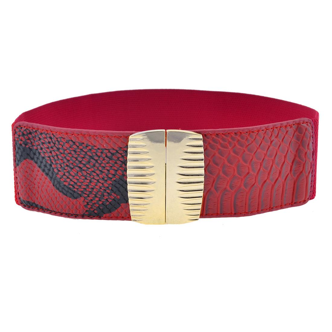 Rectangle Shape Metal Interlocking Buckle Elastic Cinch Belt Band Red for Women