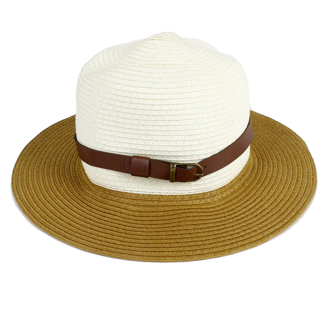 Woman 7cm Wide Brim Stitch Brimmed Bucket Summer Beach Hat Cap Khaki Beige