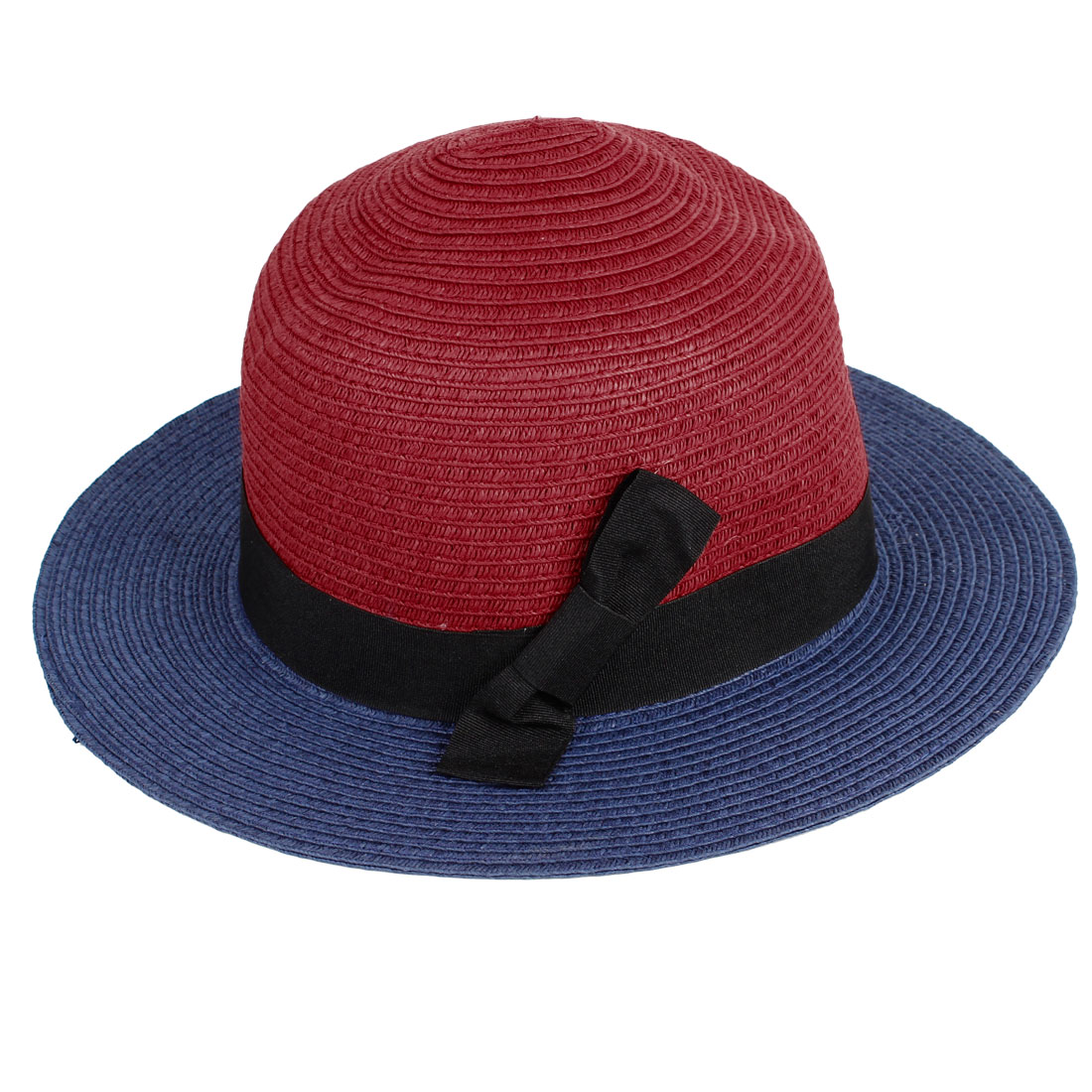 Black Ribbon Decor Red Navy Blue Braided Straw Casual Bucket Hat for Ladies