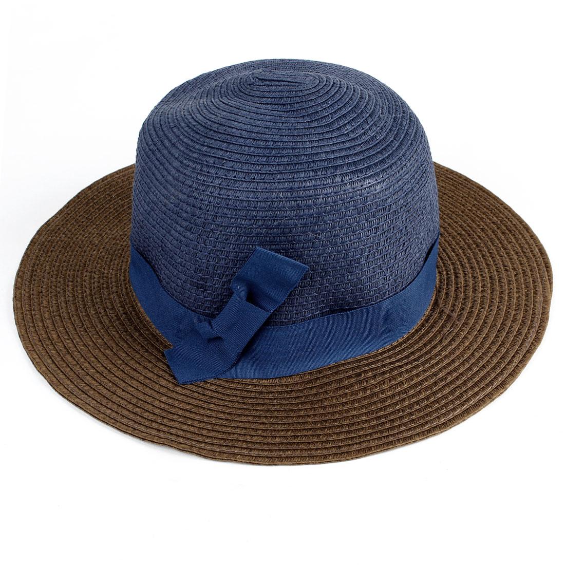 Women Navy Blue Bow Tie Detail Band Stitch Brimmed Summer Beach Bucket Hat Cap