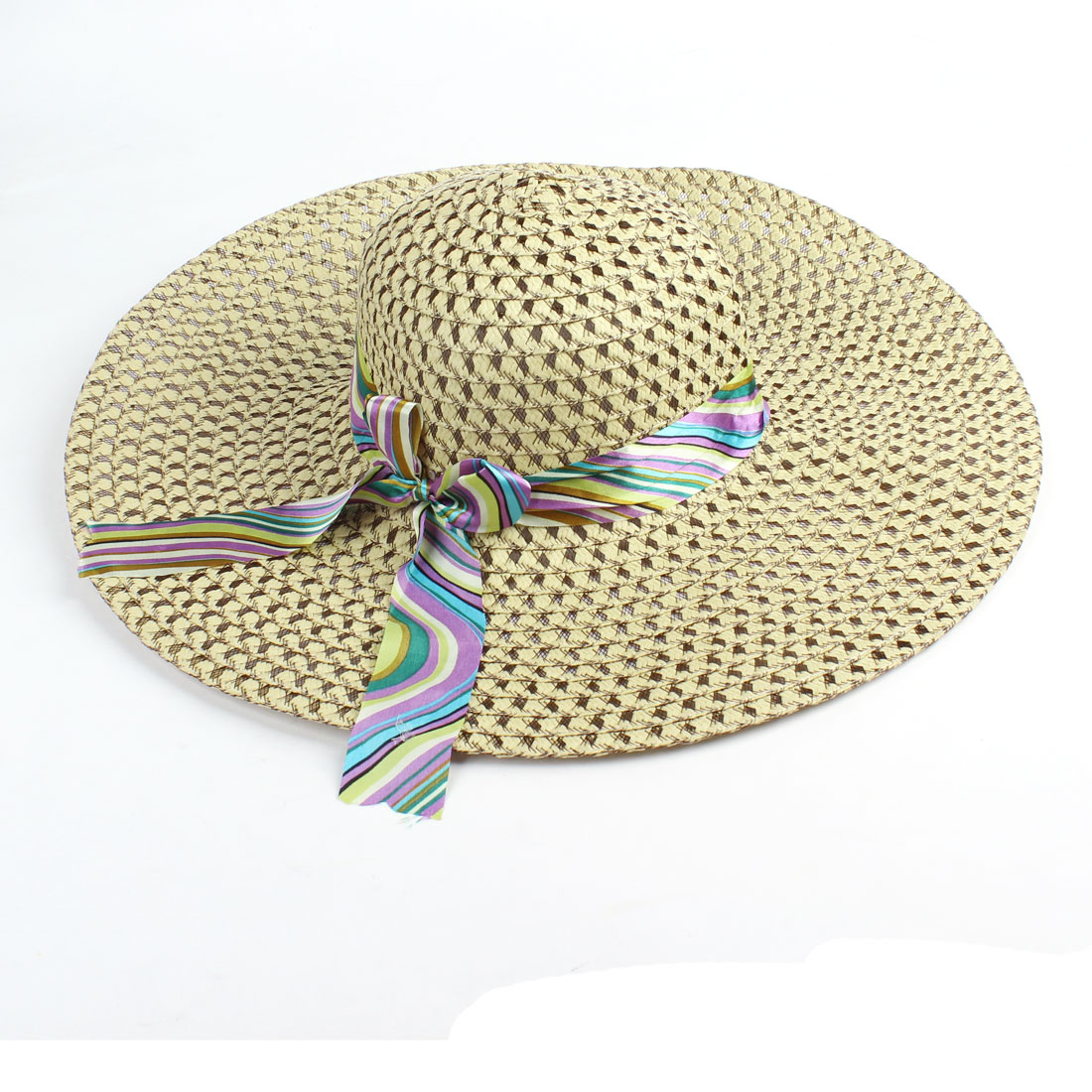 Ladies Multicolor Nylon Band Elastic Strap Hollow Out Straw Braided Hat Khaki