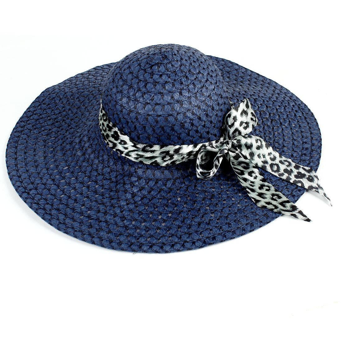 Leopard Print Polyester Ribbon Hollow Out Straw Braided Hat Navy Blue for Ladies