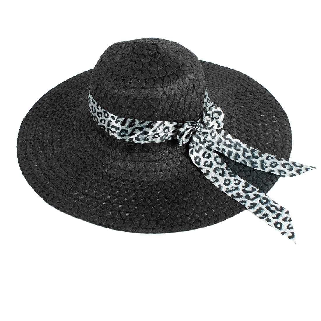 Lady Leopard Print Bow Tie Decor Ribbon Cut Out Straw Braided Hat Solid Black