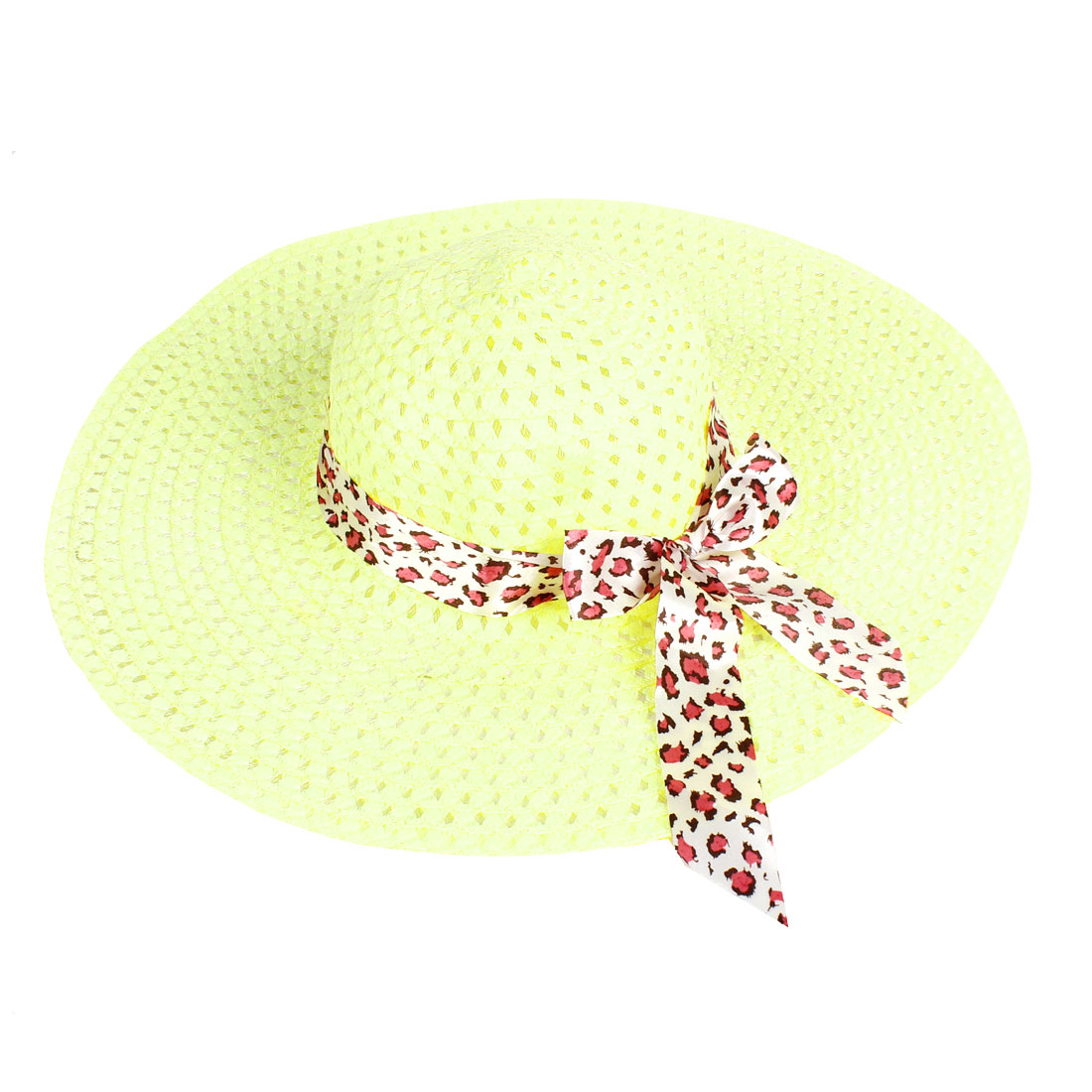 13.5cm Wide Brim Bowknot Detailing Summer Beach Hat Pure Yellow Green for Women