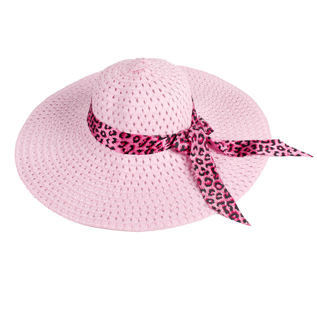 Elastic Strap Pink Wide Brimmed Meshy Outdoors Sports Sunbonnet Hat for Women