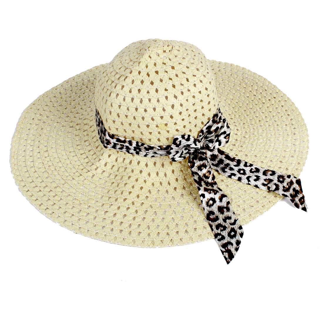 Woman 12cm Depth Crown Polyester Bowknot Detail Summer Beach Leisure Hat Beige