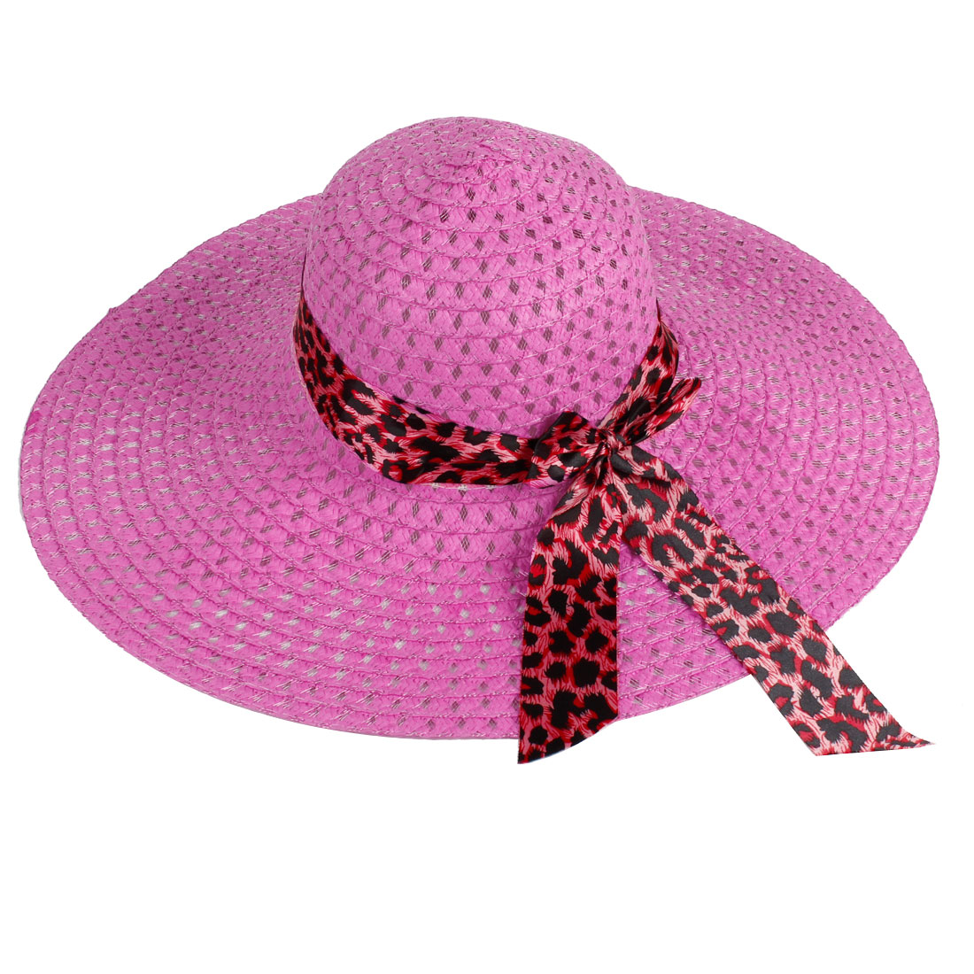Women Elastic Band Fuchsia 13.5cm Wide Brim Meshy Outdoor Sports Sunbonnet Hat