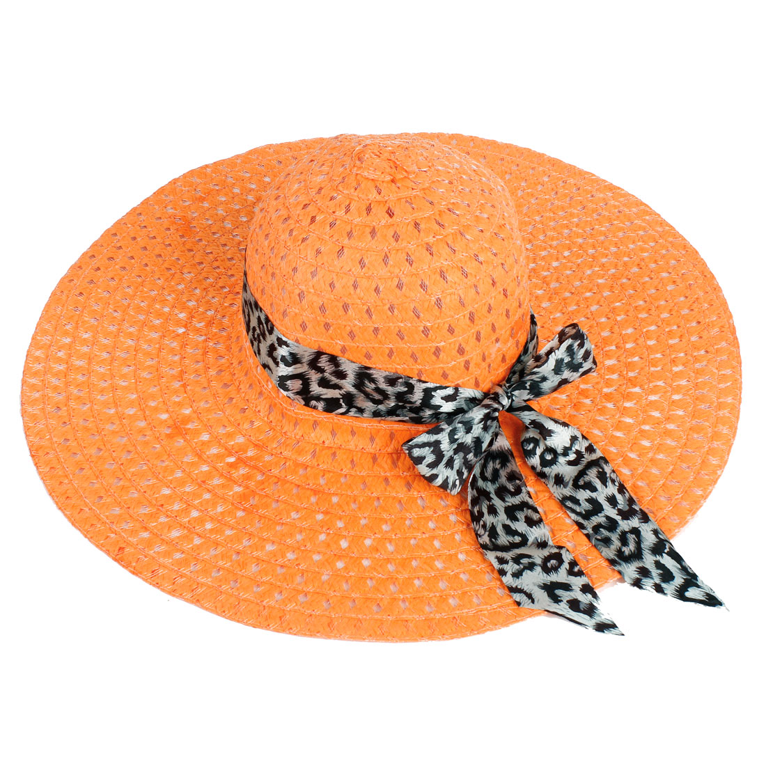 Leopard Print Polyester Ribbon Hollow Out Straw Braided Hat Orange for Ladies