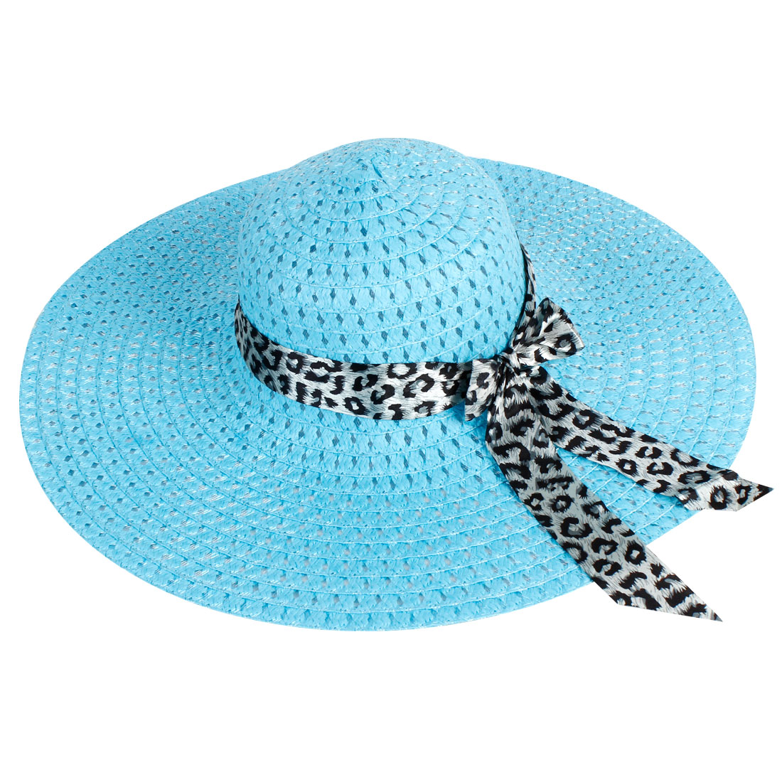 Woman 13.5cm Wide Brim Bowknot Accent Plastic Stitching Summer Beach Hat Blue