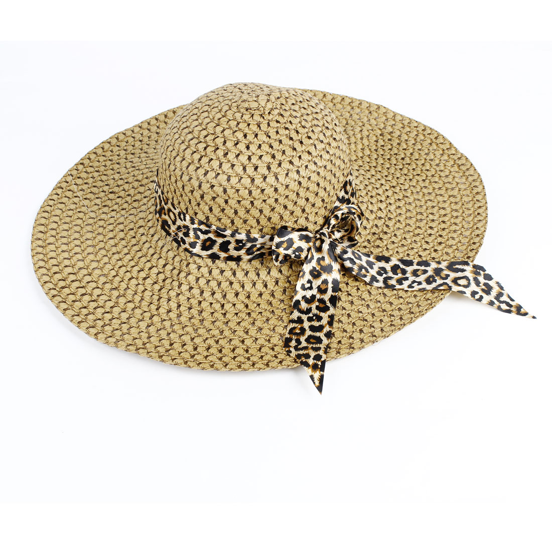 Leopard Pattern Polyester Ribbon Hollow Out Straw Braided Hat Brown for Ladies