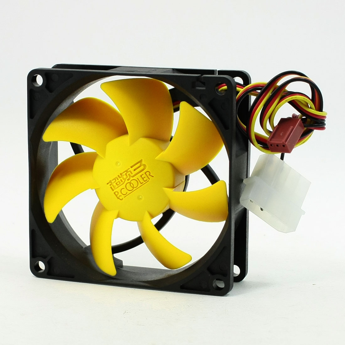 Yellow Flabellums DC 12V 80mm Black Plastic Fan for Computer Case Cooling