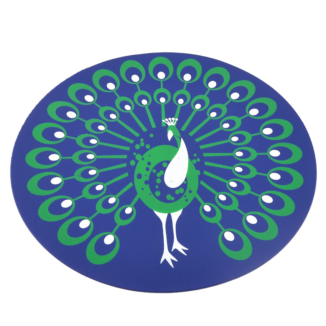 Green White Peacock Pattern Navy Blue Round Computer Mouse Pad Mat