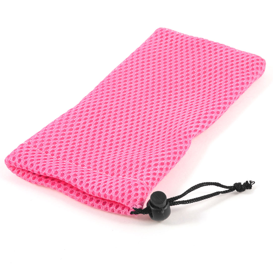 Pink Mesh Nylon Black Drawstring Glasses Sunglasses Pouch