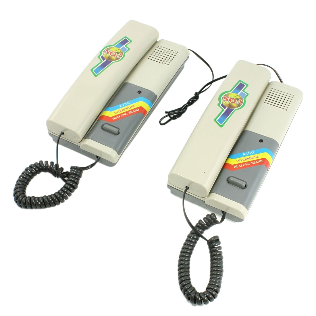 Pair Home Security Gray Plastic Wired Handset Intercom Phone Telephone Gray