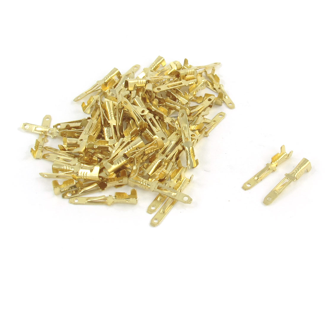 100 Pcs Gold Tone 2mm Wide Male Spade Crimp Terminal Connectors