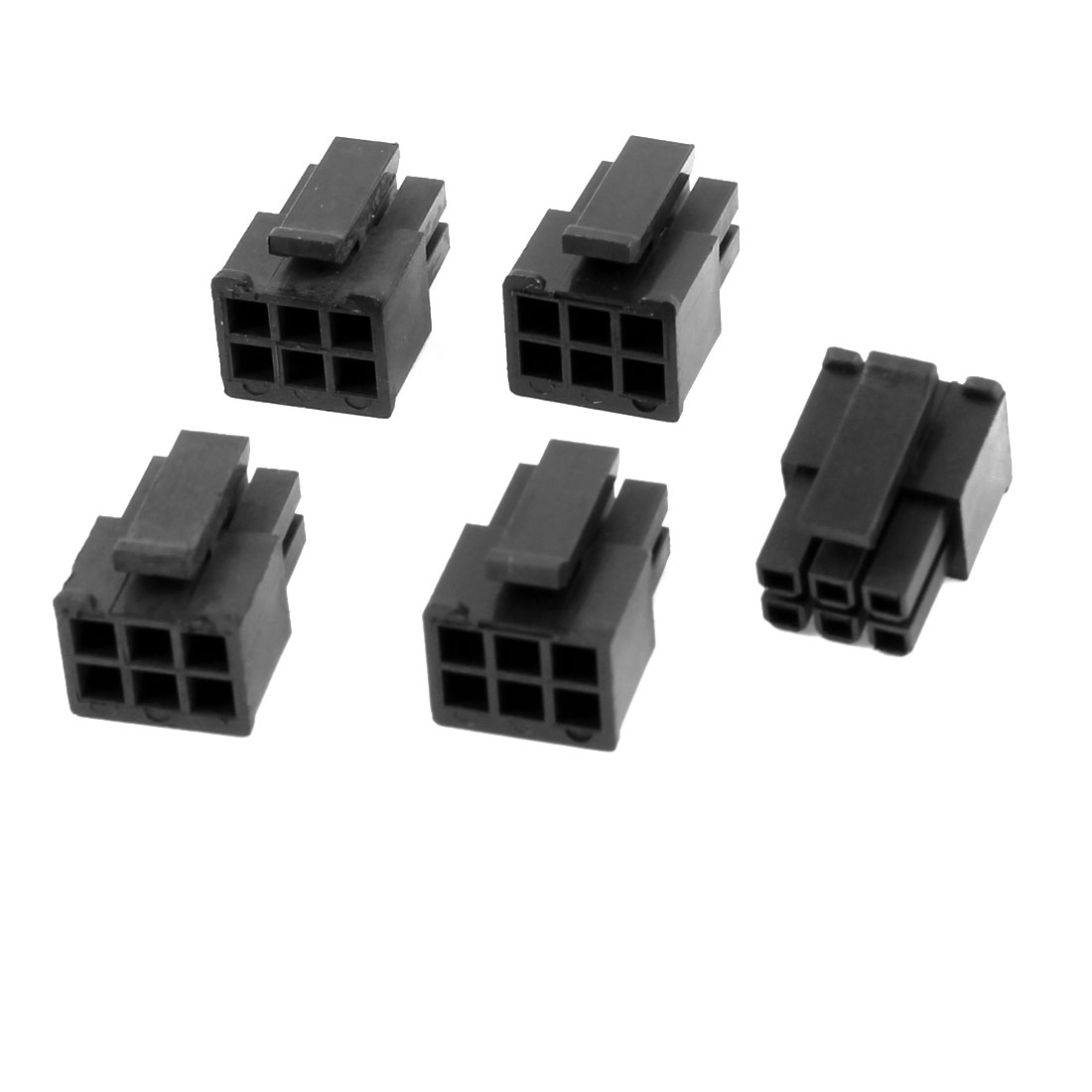 5 Pcs Plastic 6 Pin Male Power Supply Module Mini ATX Connector Black