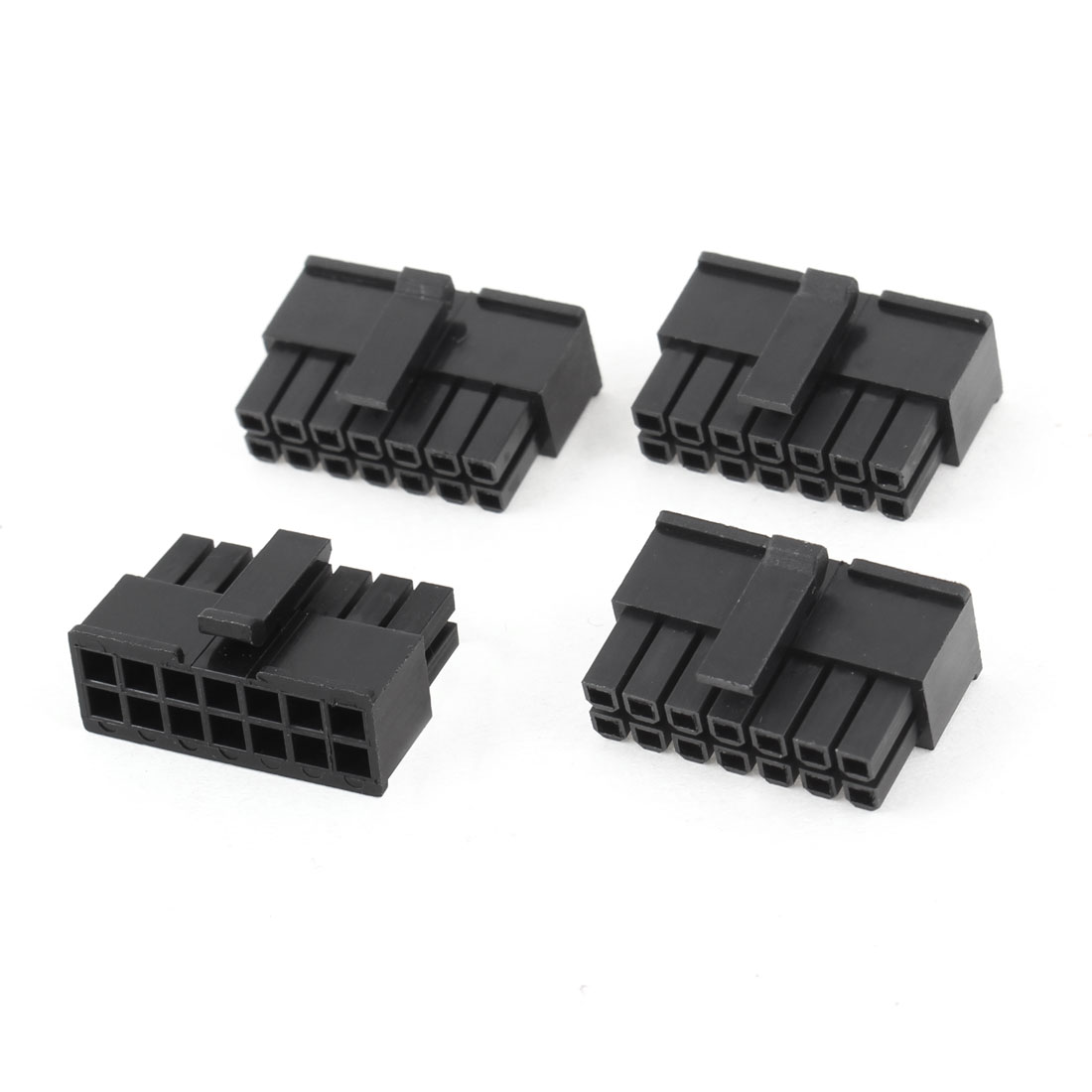 4 Pcs 3mm Pitch 14 Pin Male Socket PC Power Supply ATX Connector Black for Car
