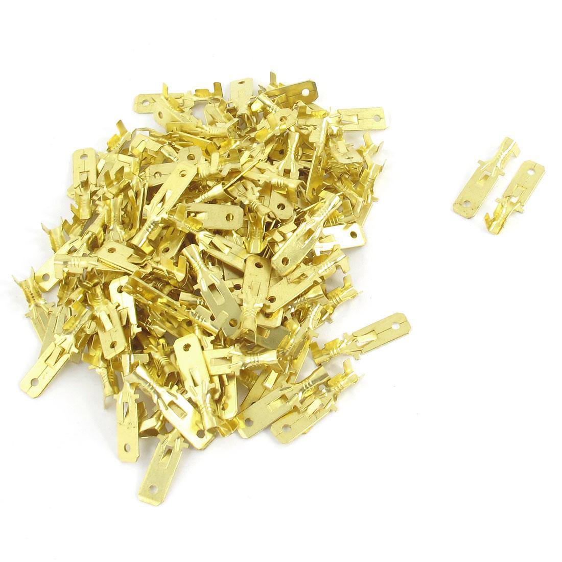 100 Pcs Gold Tone Metal Male Spade Crimp Terminal Connectors