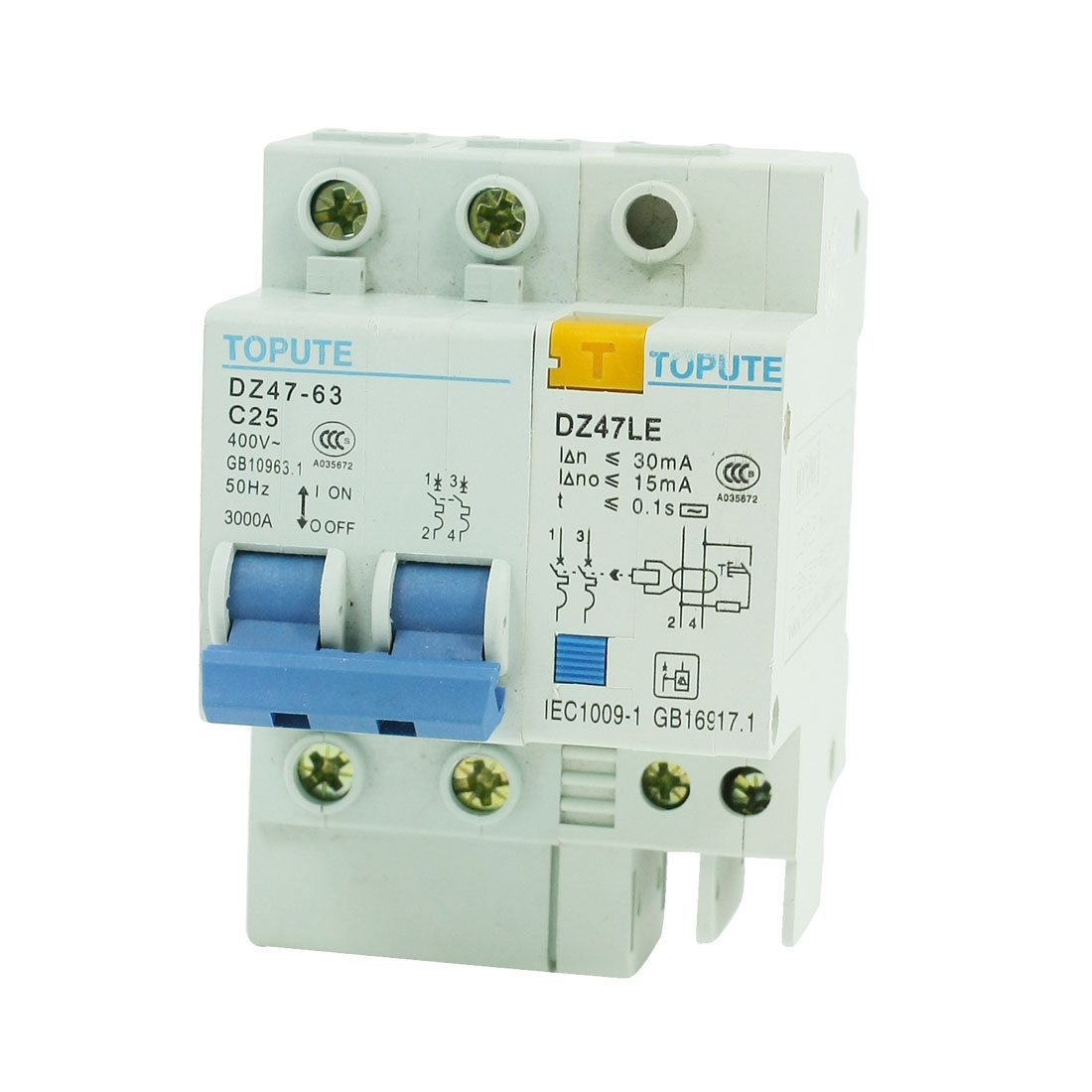 AC 400V 25A 2P Overload Protection ELCB Earth Leakage Circuit Breaker