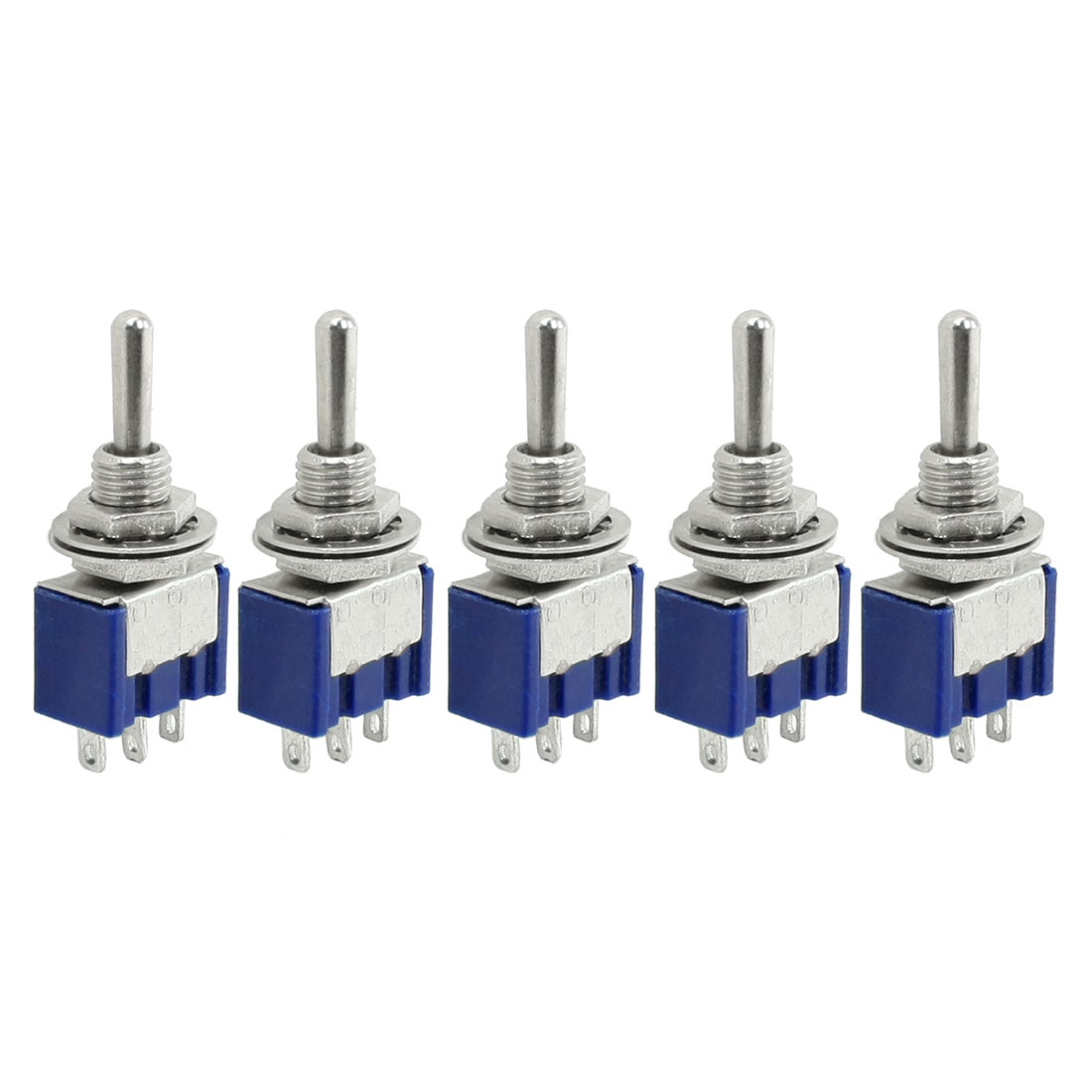 5 Pcs 6A 250AC 3 Positions ON/OFF/ON SPDT Miniature Toggle Switch