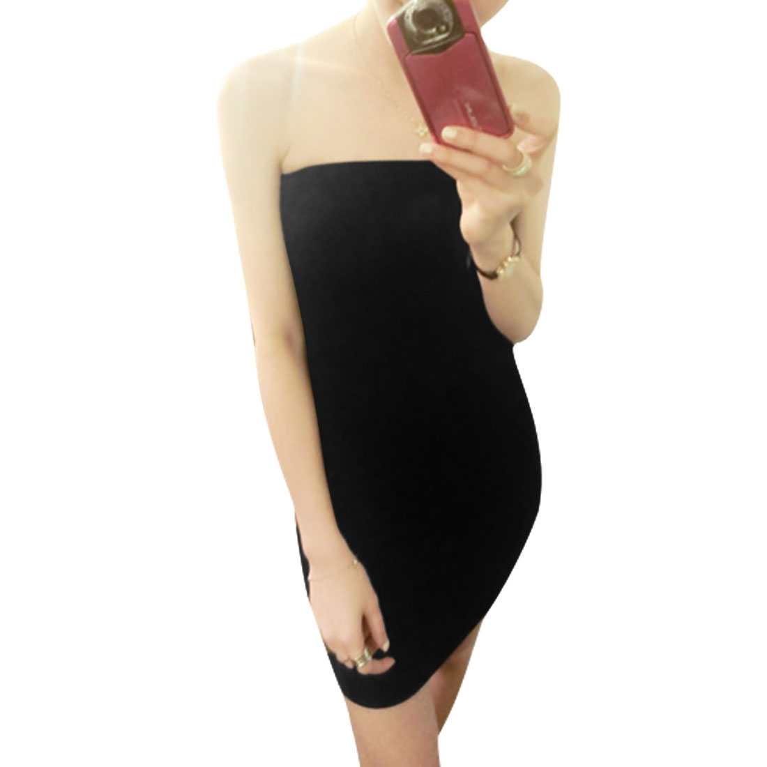 Lady Boob Tube Top Slim Fit Pure Black Summer Mini Dress XS