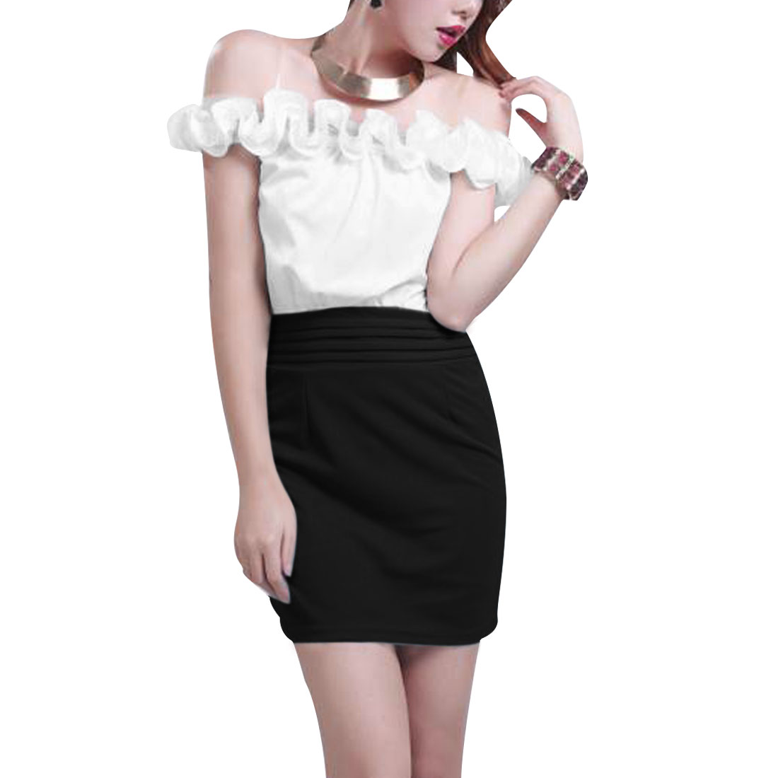 Women Black White XS Off Shoulder Pullover Two Tone Casual Mini Dress