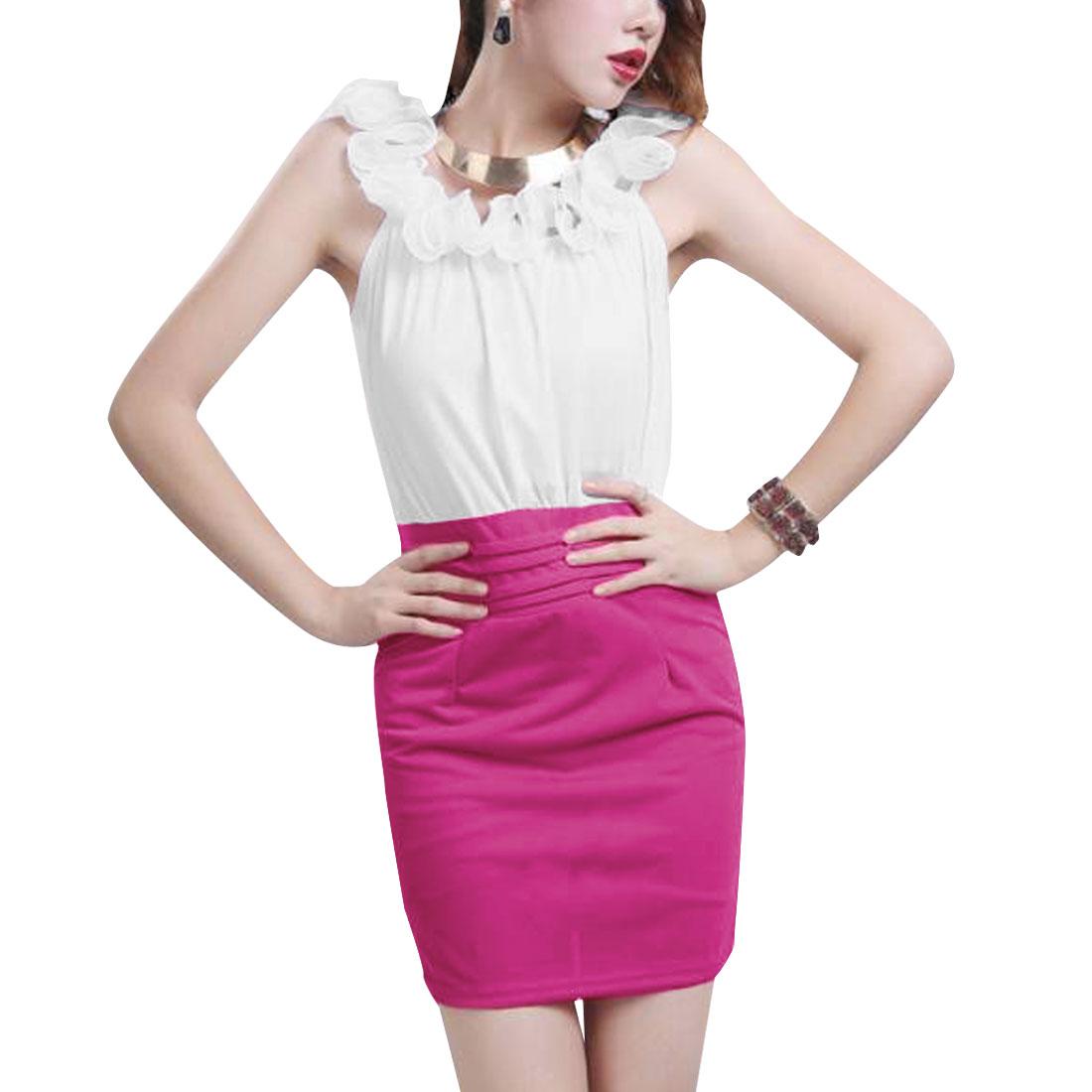 Fuchsia White XS Ladies Scalloped Lace Pullover Design Slim Fit Dress