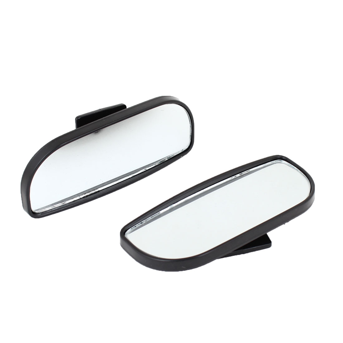 2Pcs Adjustable Oval Convex Adhesive Car Wide Angle Blind Spot Mirror Black