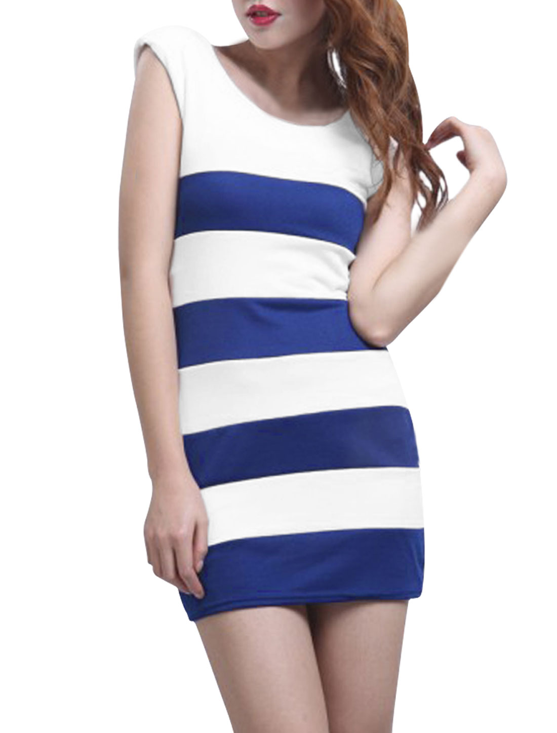 Woman Scoop Neck Striped Fitted Mini Tank Dress Blue White XS