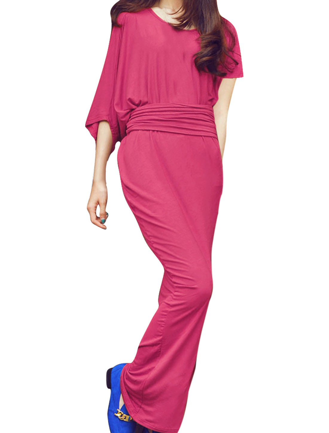 Lady Dipped Hem Solid Color Stretchy Fashional Dress Fuchsia S
