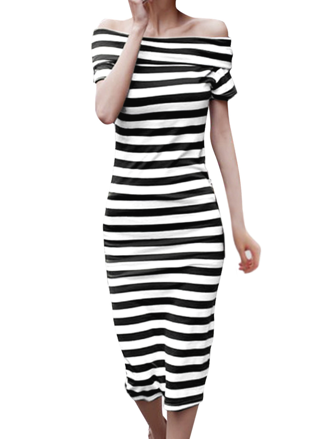 Lady Leisure Stripes Pattern Pullover Off-shoulder Black White Dress XS