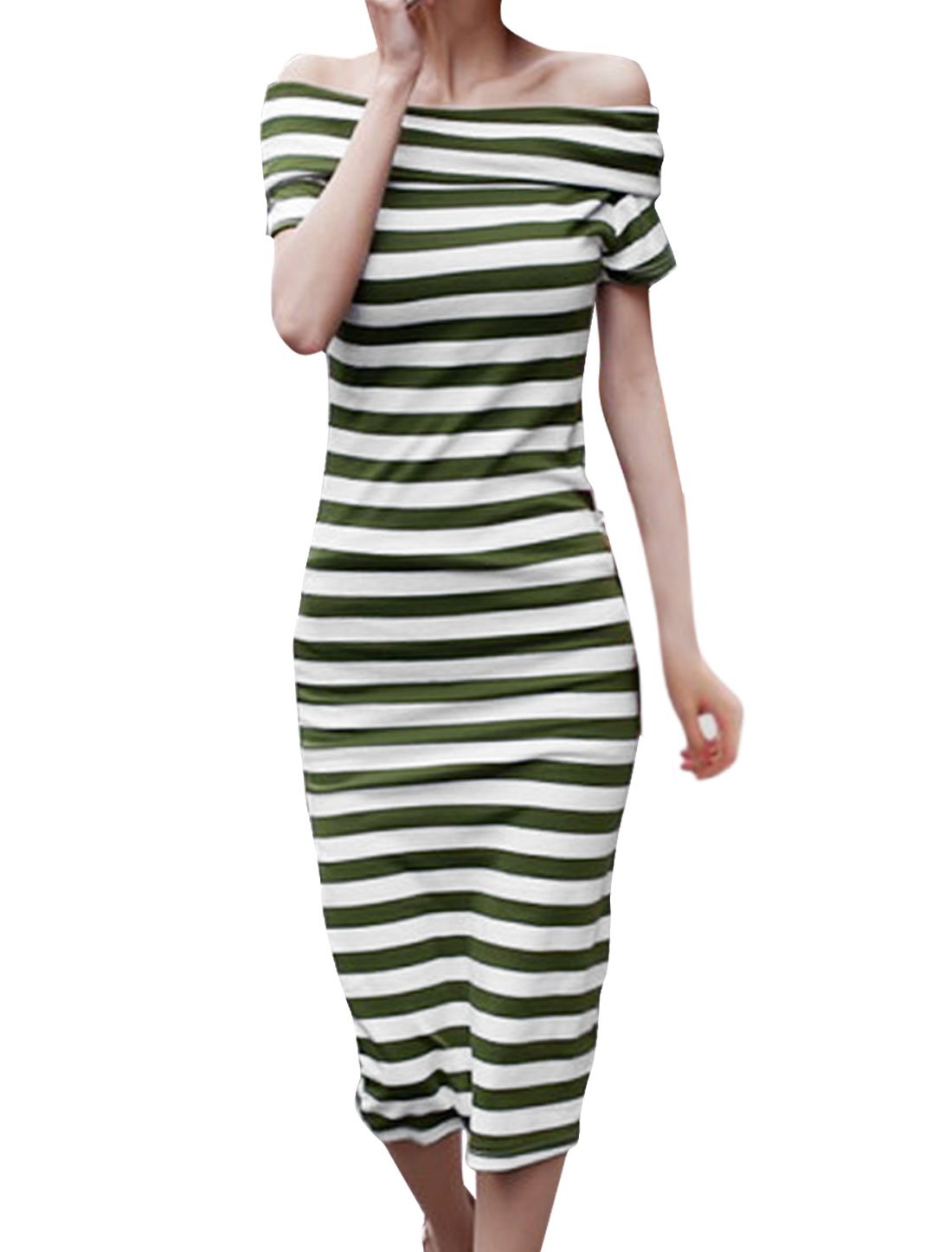 Lady Fitted Horizontal Stripes Prints Olive Green White Mid-calf Dress XS