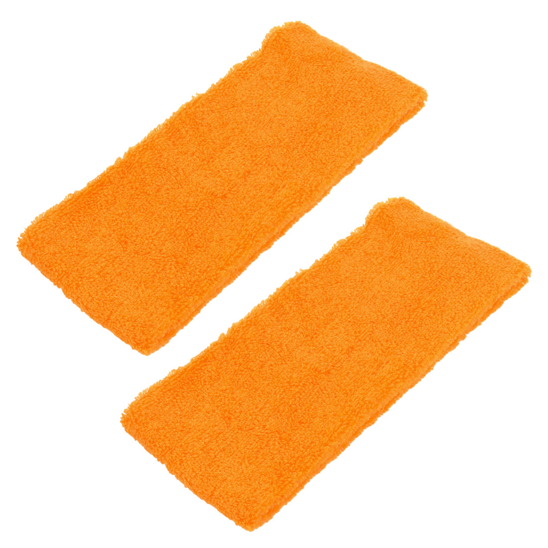 Athletic Sports Terry Elastic Sweat Absorbent Headband Orange 2 Pcs