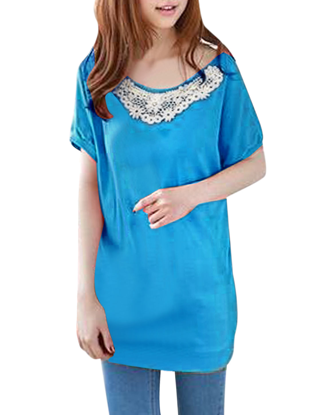 Women Crochet Embellished Round Neck Short-sleeved Shirt Cyan S