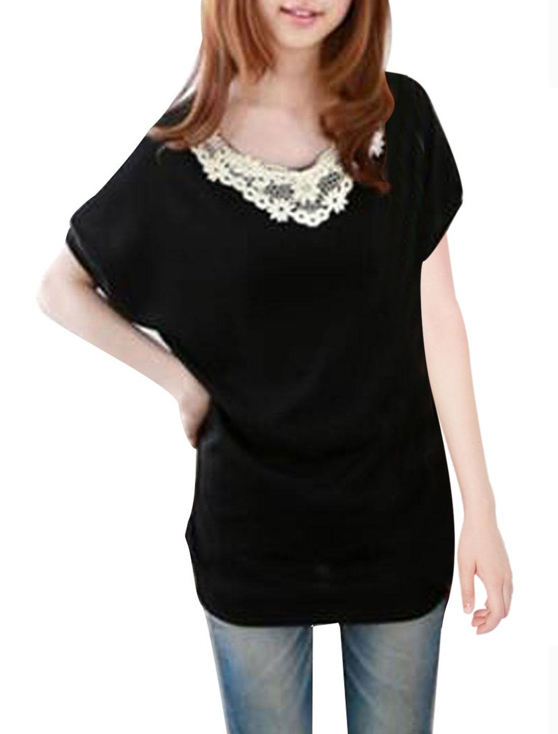 Women Embellished Crochet Stretchy Leisure Shirt Black S