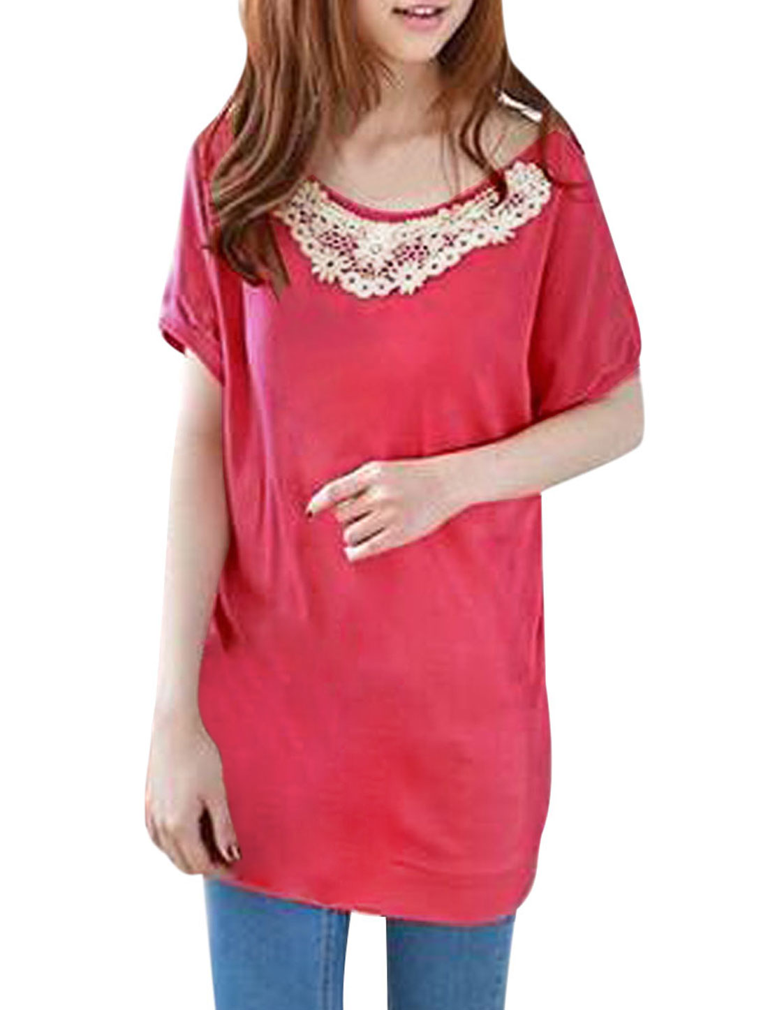 Lady Round Neck Stretchy Hem Batwing Chic Tops Blouses Watermelon Red S