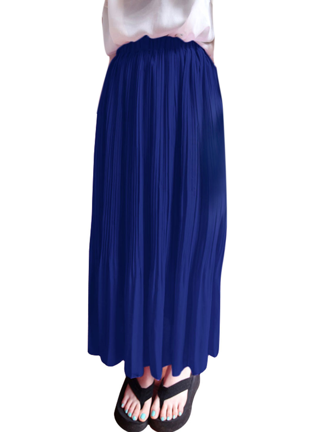 Ladies Elastic Waist Pleated Semi Sheer Casual Skirt Royal Blue XS