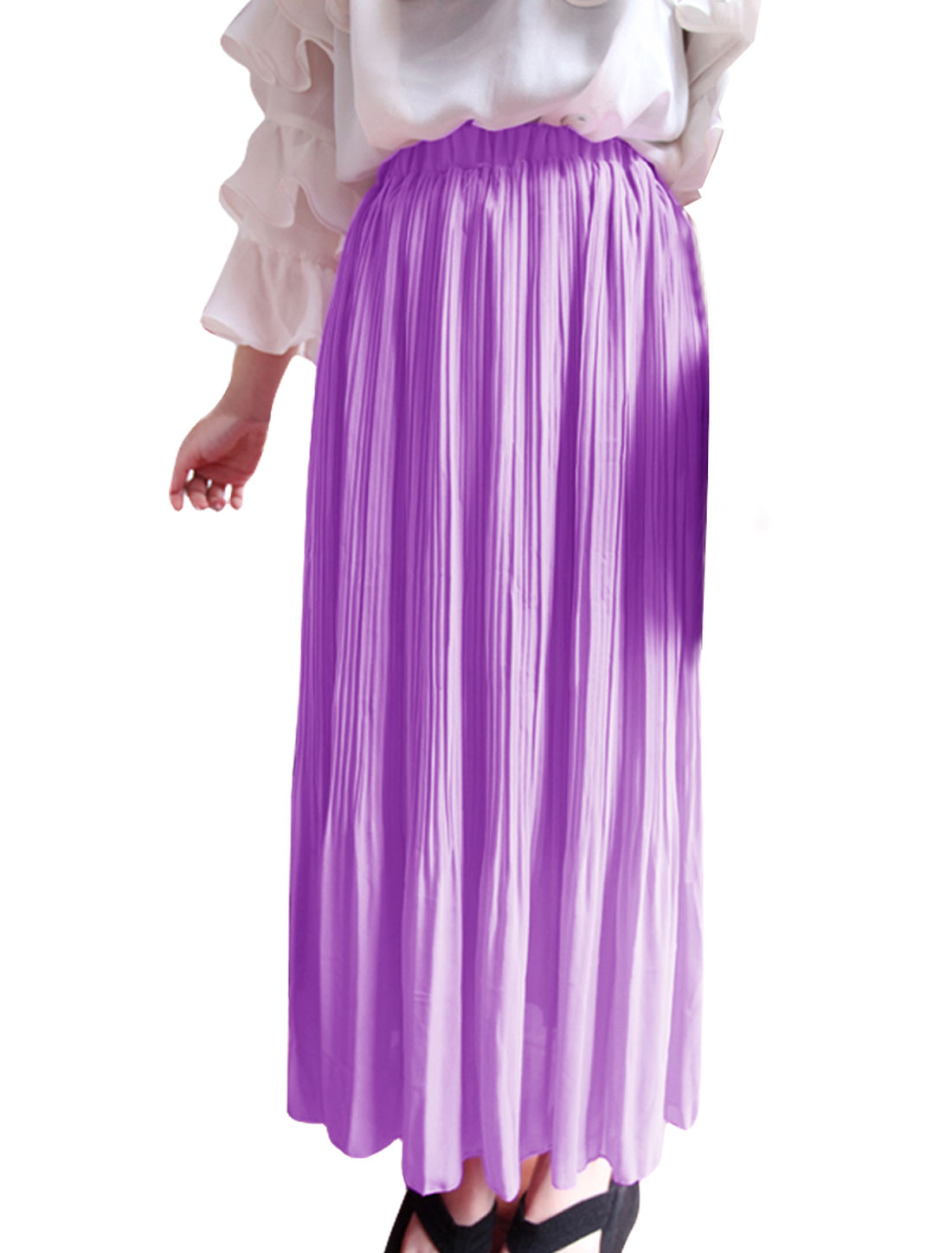 Ladies Elastic Waist Lining Mid Calf Casual Skirt Lilac XS