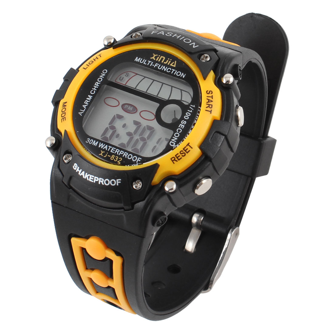 Adjustable Black Yellow Band Round Case Cold light Sports Watch for Children