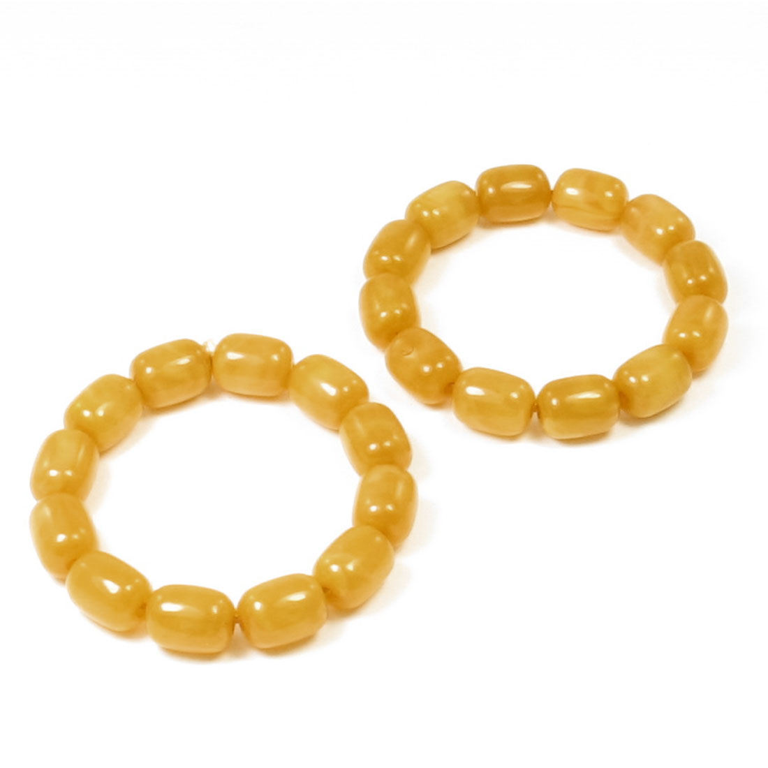 2pcs Amber Color Plastic Cylinder Beads Linked Elastic Prayer Wrist Bracelet