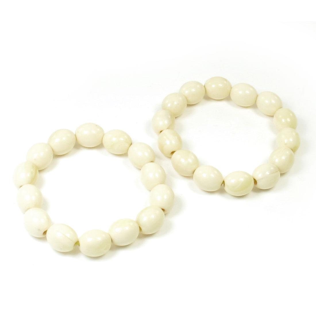 2pcs Ivory Plastic Oval Beads Linked Elastic Prayer Wrist Bracelet