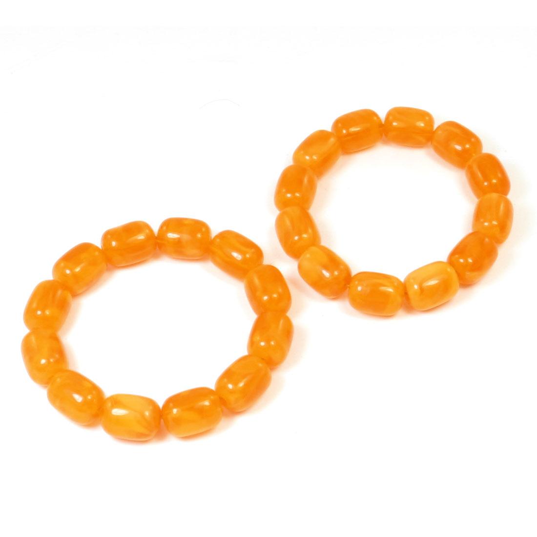 2pcs Orange Plastic Cylinder Beads Linked Elastic Prayer Wrist Bracelet