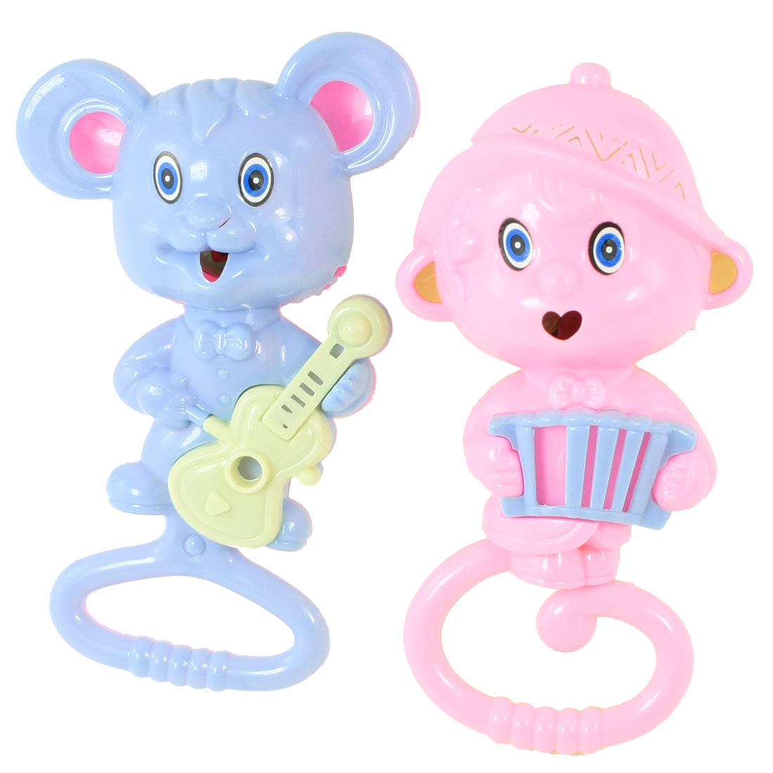 2 Pcs Pink Blue Plastic Cartoon Mice Playing Guitar Accordion Rattling Toy