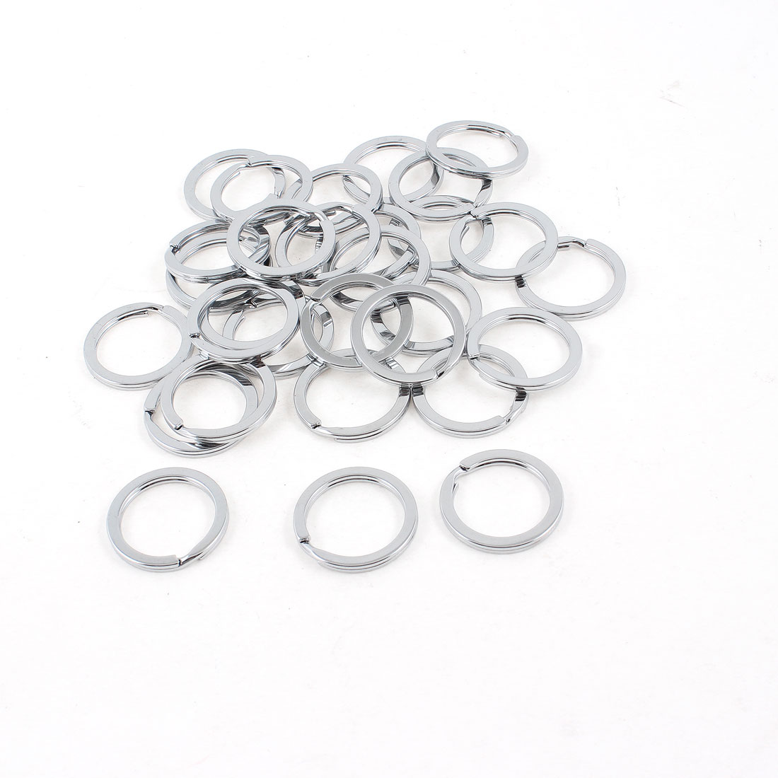 25mm OD Silver Tone Metal Split Loop Key Rings Holders 30 Pcs