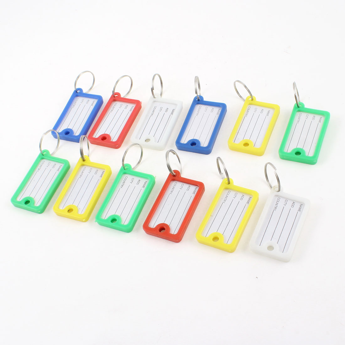 Barber Salesman Assorted Color Plastic Name Tag Badge Clip Holder Keyring 12 Pcs