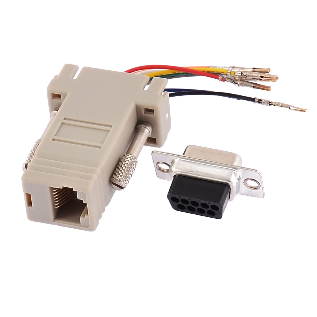 RS232 DB9 Male Connector to RJ45 Female Ethernet Adapter Gray