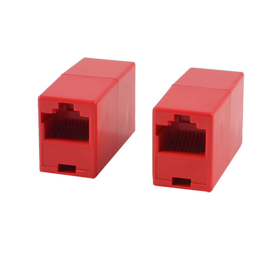 Red RJ45 F/F 8P8C Modular Inline Coupler Shielded Connector 2 Pcs